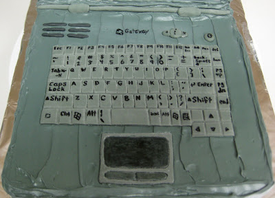3D Laptop Cake - Overhead Close-up of Keyboard