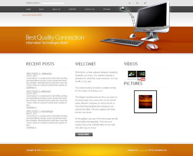 THE tech blog blogger template without blog posts on home page
