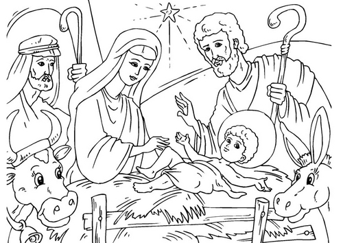 Free Nativity Scenes Coloring Pages