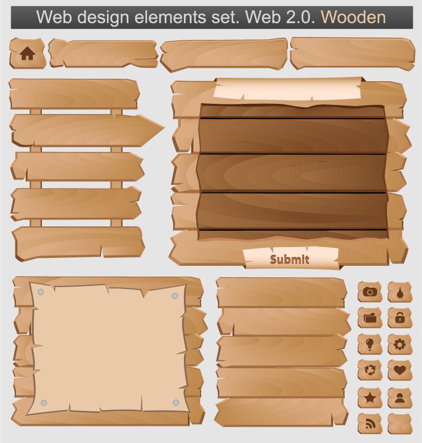木製看板の部品素材 Wood signs indicators イラスト素材