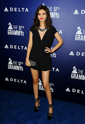 Victoria Justice Sexy mini black dress at Delta Air Lines Grammy 2015