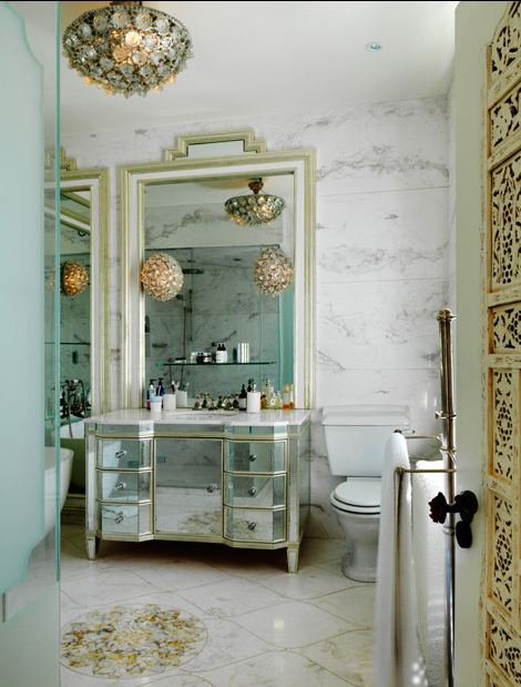 wicker stitch bathroom glamour