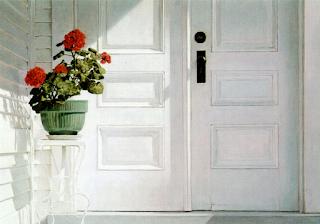 "Midsummer Sun Original oil by Carroll Jones III  ""double white doors with red geranium"""