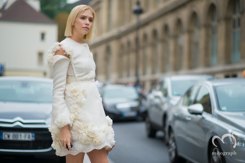 Elena Perminova Giambattista Valli Street Style PFW Paris Fashion Week