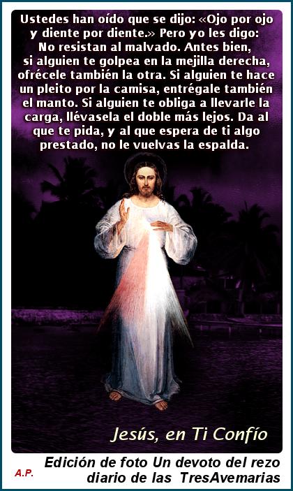 imagen de jesus (divina misericordia con texto de la biblia nuevo testamento Mateo 5:38-42