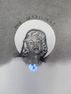 Ave Marilynas by F. Lennox Campello. Charcoal with embedded electronics. 2012