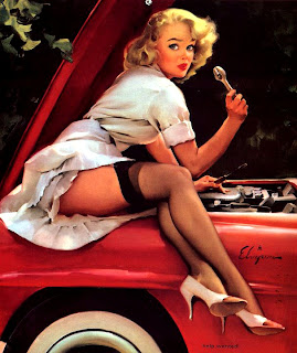 Elvgren art girl repairing car