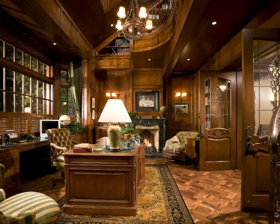 The home-office of a French-Country Estate in Anaheim, California