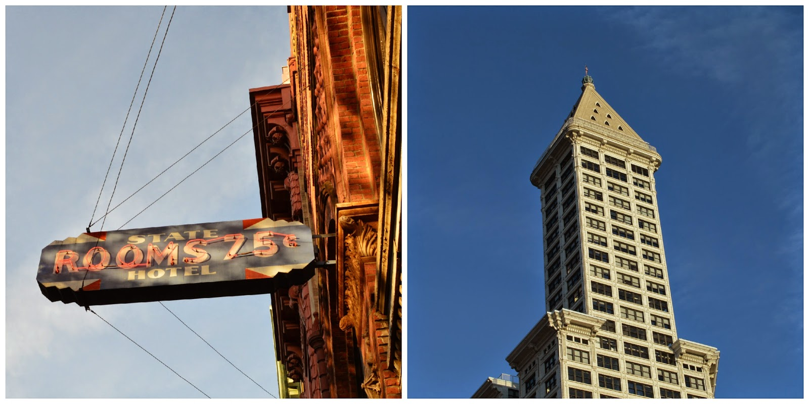 State hotel 75c sign. Smith tower. Seattle