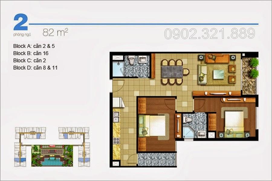 Căn hộ Lexington 2 phòng ngủ 82m2