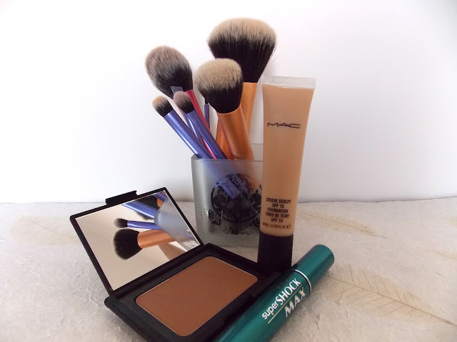 MAC Studio Sculpt SPF15 Foundation, Avon Supershock Max, Nars Bronzer in Laguna and Real Techniques Brushes