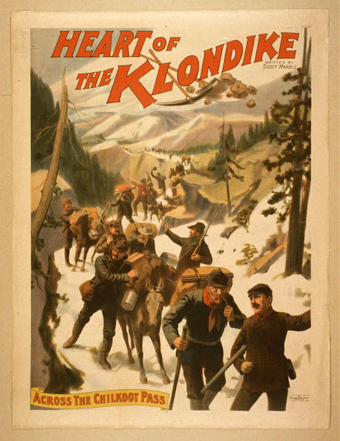 classic posters, free download, graphic design, movies, retro prints, theater, vintage, vintage posters, The Heart of the Klondike, Across the Chilkoot Pass - Vintage Theater Poster