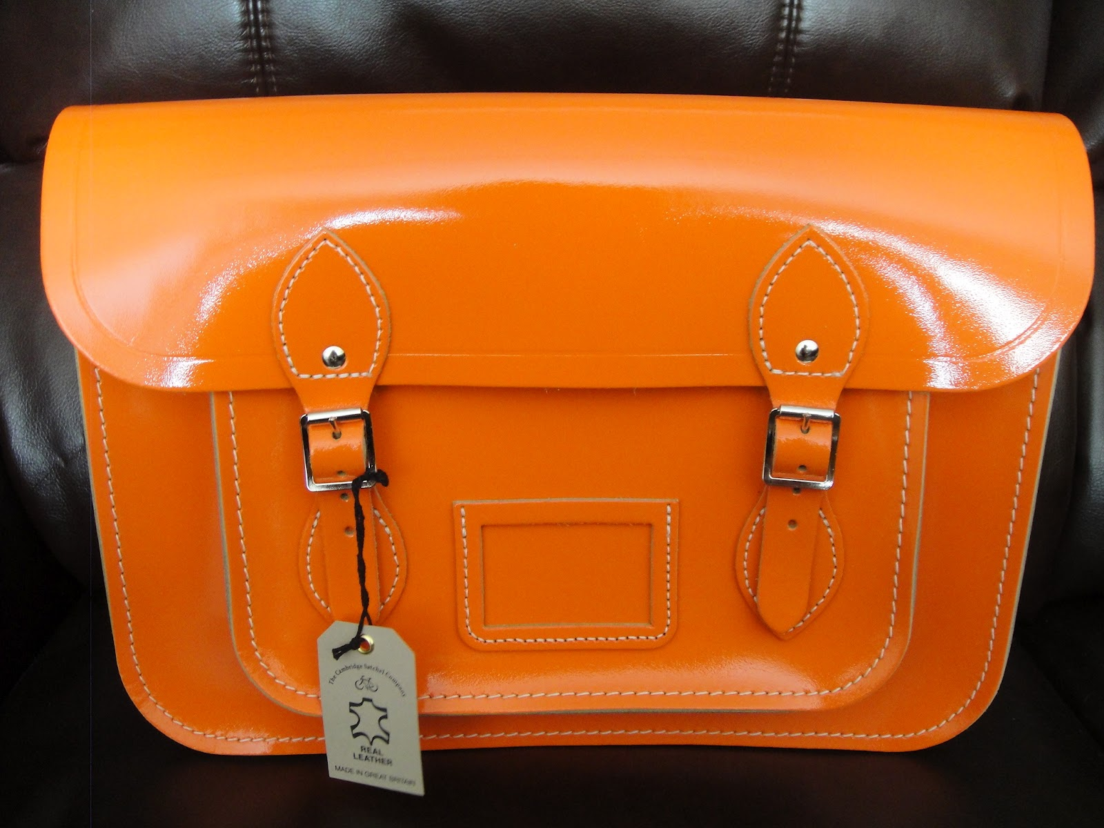 My Orange Patent Cambridge Satchel from ASOS! | Adorably Clueless Me