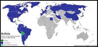 Países donde Bolivia mantiene misiones diplomáticas