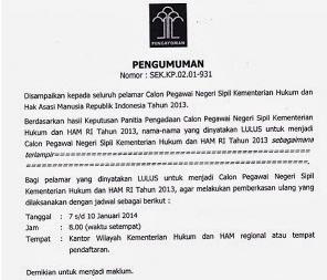 Pengumuman Daftar Nama Lulus CPNS Kemenkumham 2013
