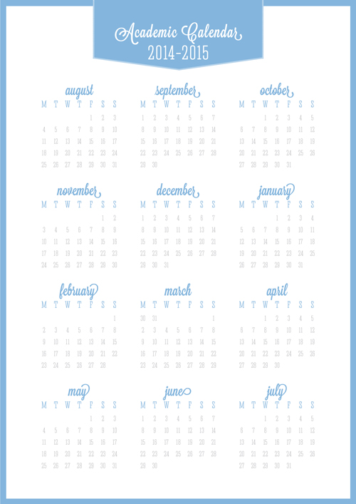 Back to School Free Printable Academic Calendar 2014-2015
