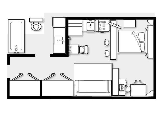 One bedroom design layout home design blog for Studio closet design