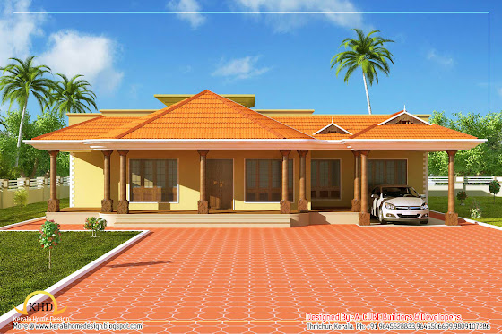 Kerala Style Single Floor House Architecture -  232 Square Meter (2500 Sq. Ft) - January 2012