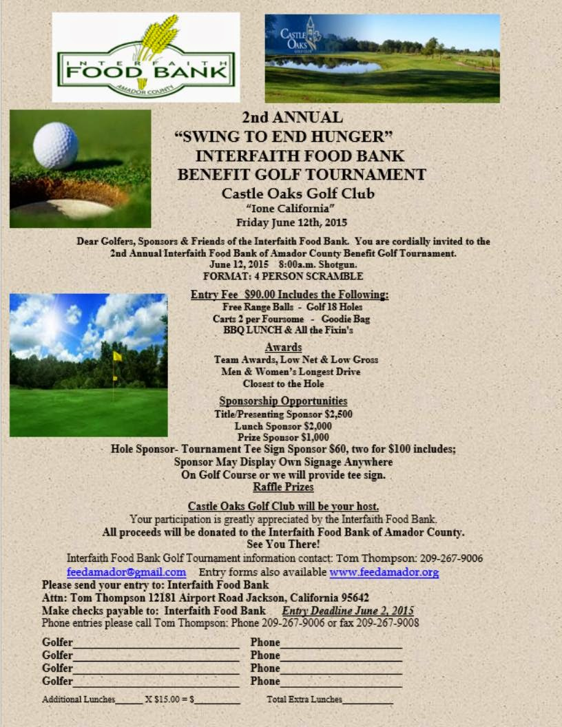"2nd Annual ""Swing to End Hunger"" Interfaith Food Bank Benefit Golf Tournament - Fri June 12"