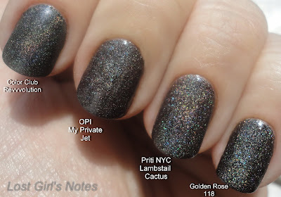 Priti NYC Lambstail cactus, OPI my private jet, Color club revvvolution and golden rose 118 dupe alert comparison