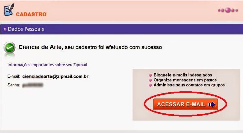Como fazer email Zipmail grátis 3