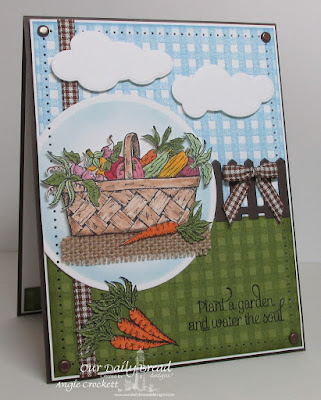 ODBD Plant a Garden, ODBD Gingham Background, ODBD Custom Fence Die, ODBD Custom Clouds and Raindrops Dies, Card Designer Angie Crockett
