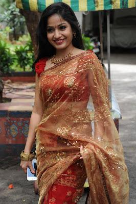 Madhavi Latha New Photos in Transparent Saree