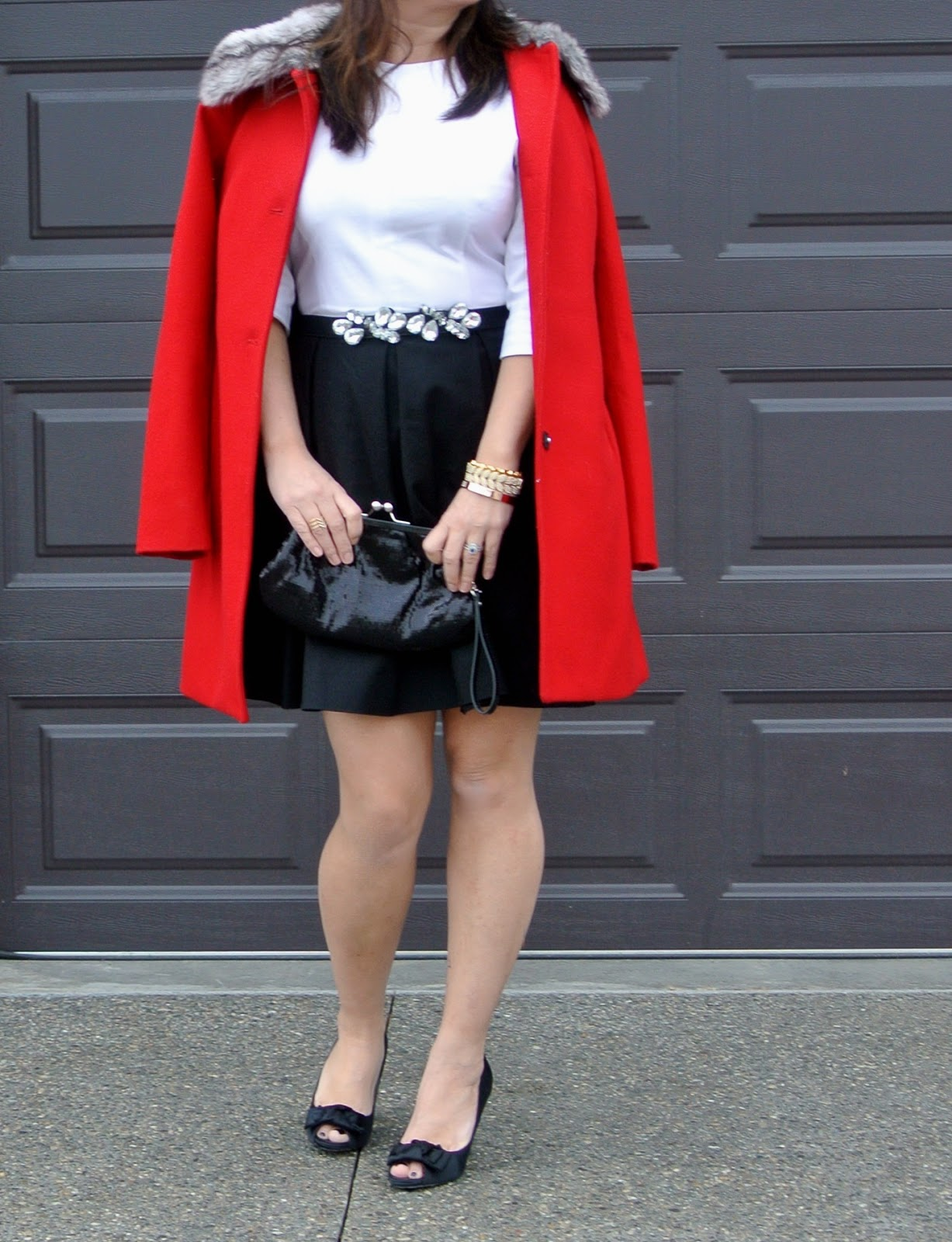 gap dress red coat