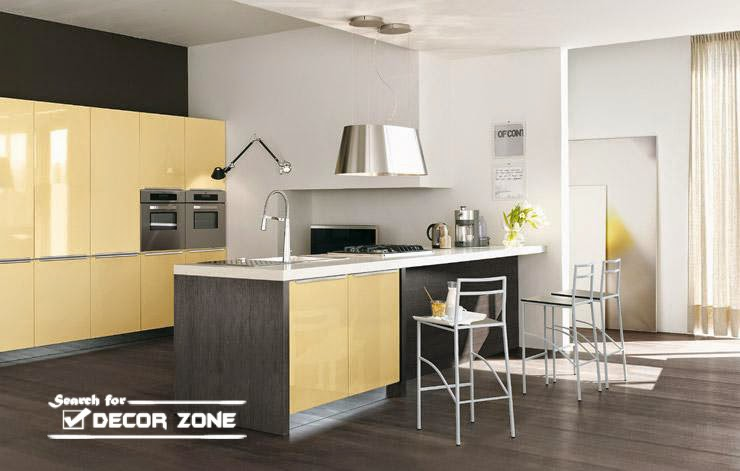 Modern Kitchen Cabinet Color Combinations   Gray And Pale Yellow