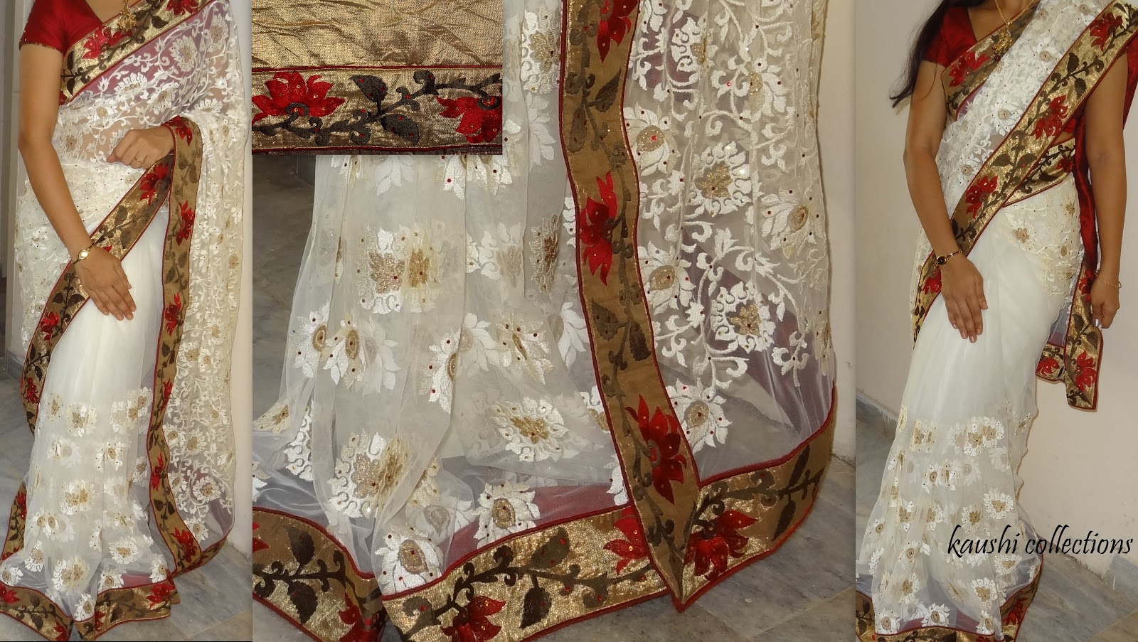 Half White Netted Sareeteamed With Shimmer Floral Border