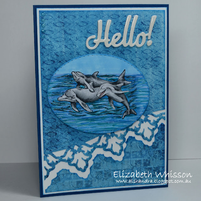Elizabeth Whisson, Alshandra, Dolphins, Our Daily Bread Designs, Leafy Edged Borders, Hello, Christian Faith Collection, Copic