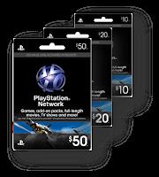 Tarjetas Playstation Network Card de 10, 20 y 50 dólares