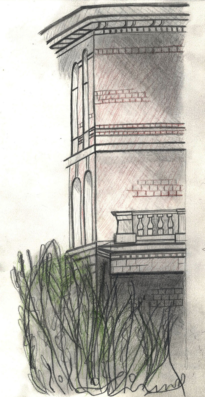 Tisha Barnes 39 Designs Exterior One Point Perspective Sketch