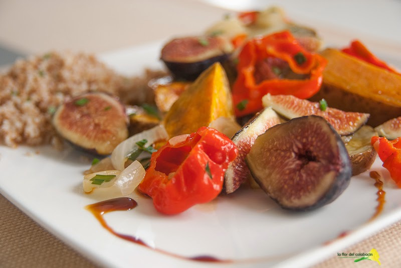 jerusalem: ensalada templada de batata asada con higos frescos - ottolenghi's roasted sweet potato & fresh figs