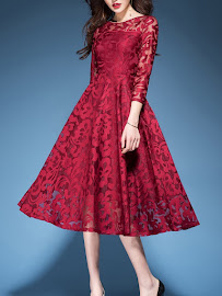 New Three Quarter Sleeve Floral Mesh Lace Past Knee Length Dress