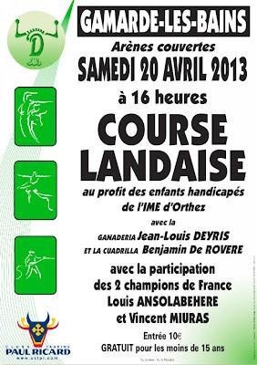course landaise 2013 à Gamarde au profit des enfants de l'IME d'Orthez