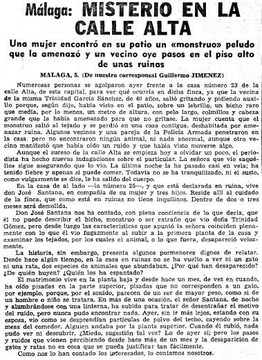 Criptozoolog a en espa a el monstruo peludo de m laga 1966 - Casas de embargo malaga ...