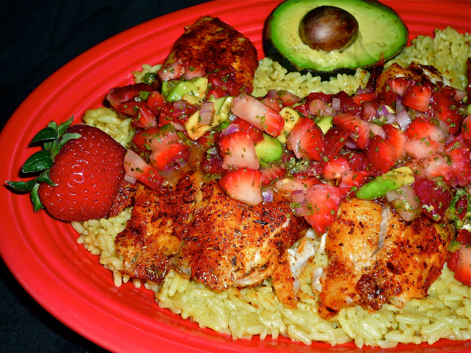 ... ...Featuring Spicy Seared Tilapia with Strawberry-Avocado Salsa