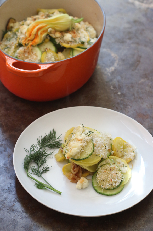 Squash Casserole with a Dill Herbed Goat Cheese Crust