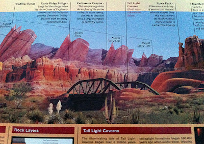 Cars Land Carsland signs information rock formations identify
