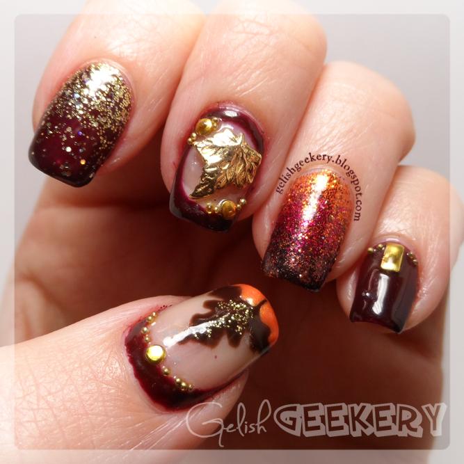 Gelish Fall Leaf Nails