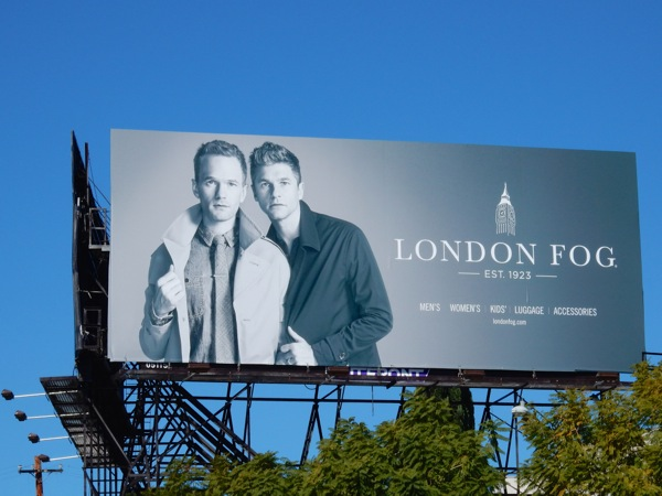 Neil Patrick Harris David Burtka London Fog billboard