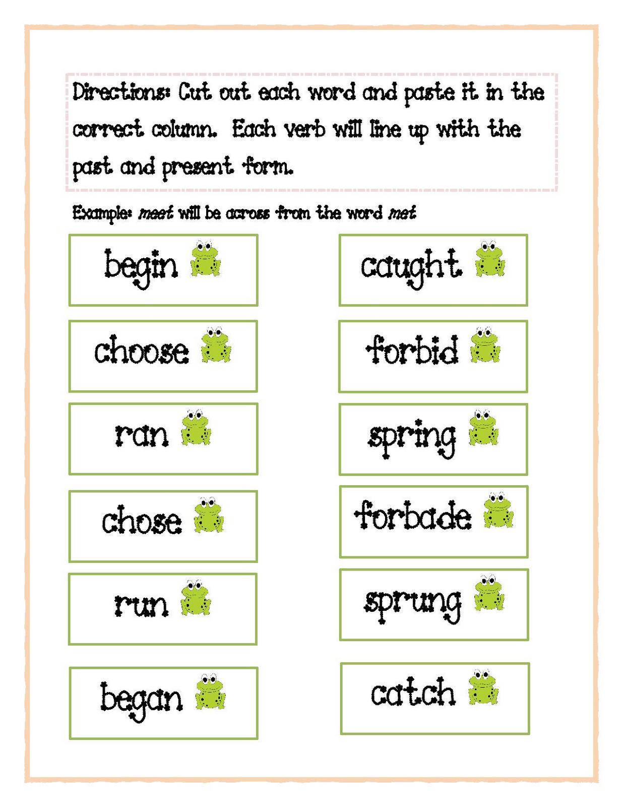 Irregular Past Tense Verbs Activities Irregular Verbs Activity