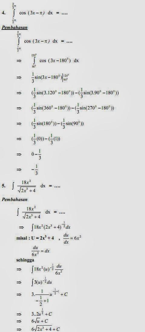 Matematika Di Sma Soal Dan Pembahasan Ulangan Bab Integral Paket A
