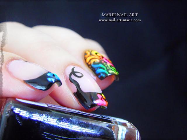 Nail Art Frenh et Arabesques Fluo4