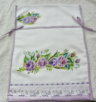 porta forma de oxford com pintura de rosas lilases