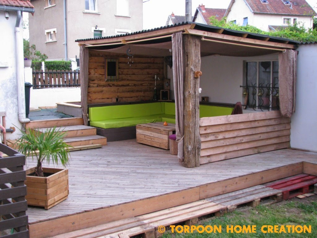 Torpoon home creation terrasse en palettes et abri ext rieur for Terrasse de jardin en palette