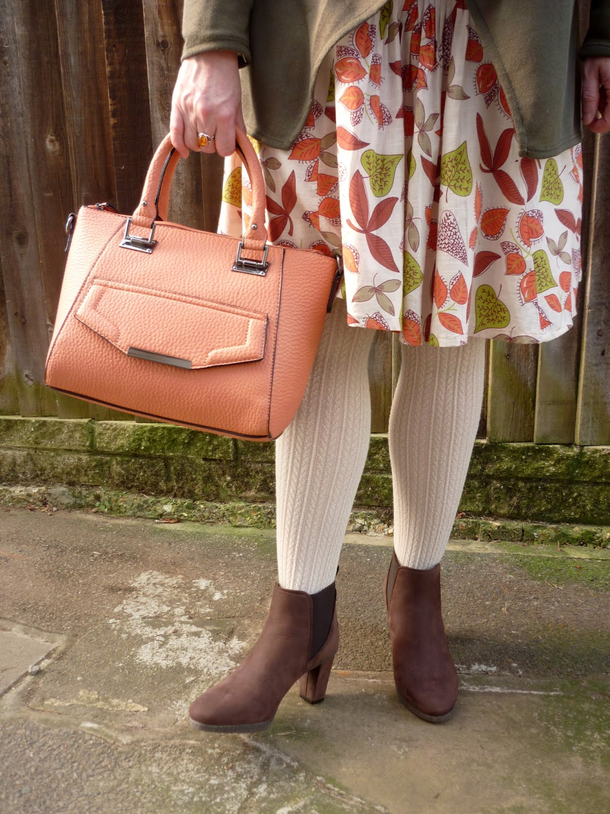 Pumpkin Tote, Leaf Patterned Skirt, Brown Faux Suede Shoe Boots | Petite Silver Vixen