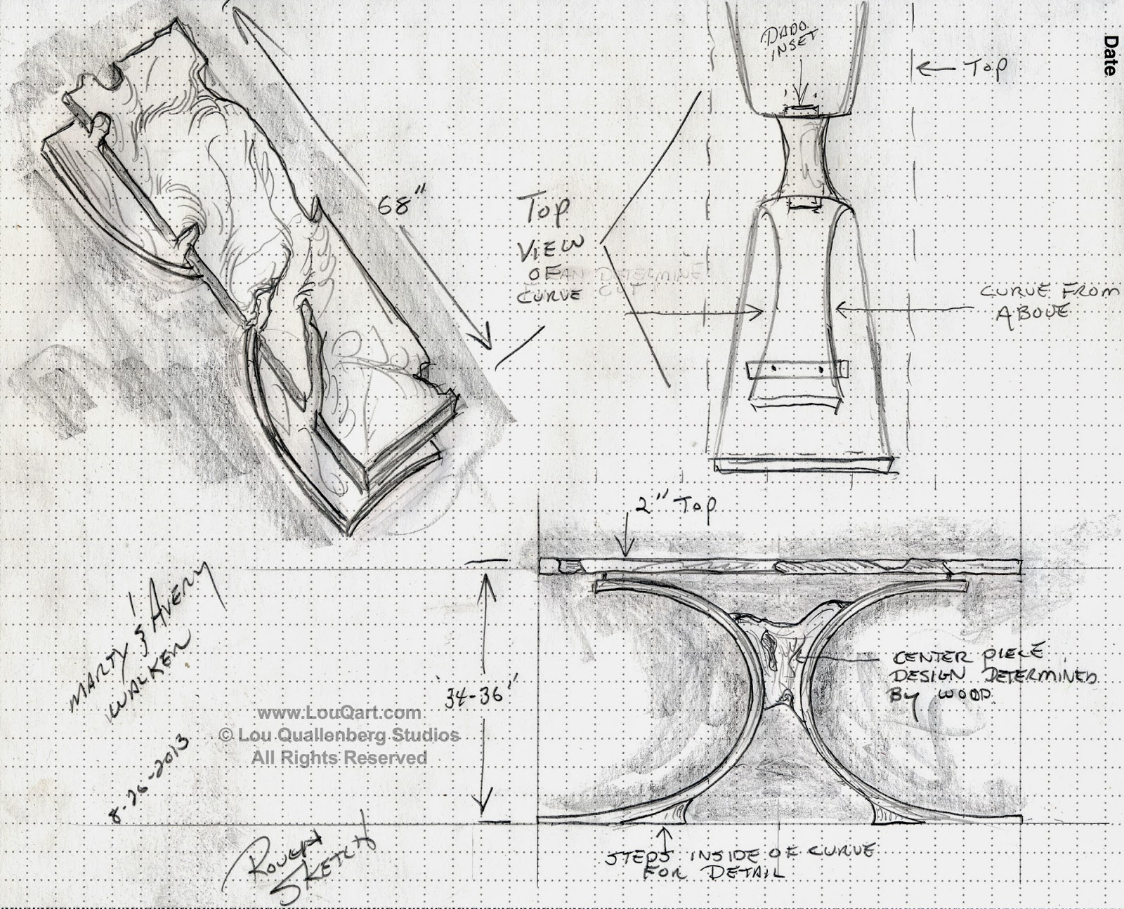 Sketch for Mesquite Entry Table by Lou Quallenberg Studios