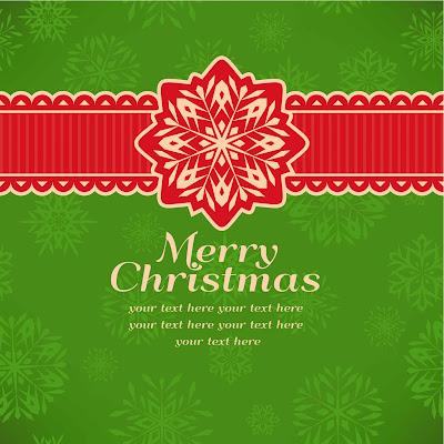 Tarjeta navideña en color verde con feliz navidad en ingles